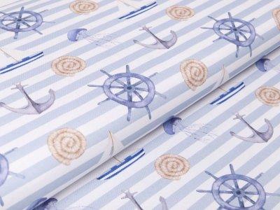 Canvas Digitaldruck by Poppy - Maritimer Look auf Streifen - weiß/blau