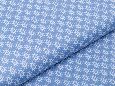 Webware Baumwolle Popeline - Tropfen und Punkte - blau