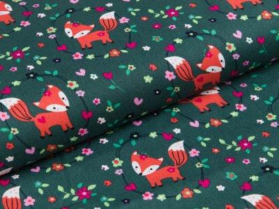 Webware Popeline - kleine Füchse im Blumenmedaillon - tannengrün