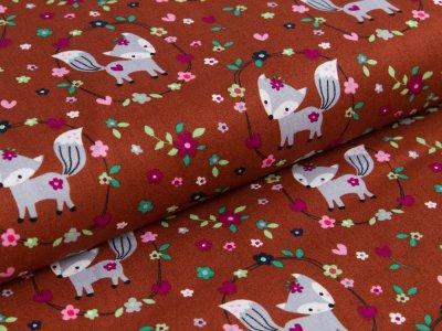 Webware Popeline - kleine Füchse im Blumenmedaillon - braun