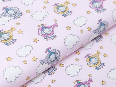 Webware Baumwolle Popeline - Elefanten im Helikopter - rosa