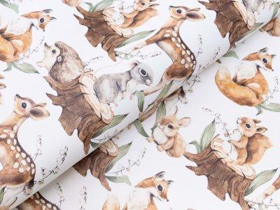 Lederimitat Digitalprint Coupon 50 cm x 140 cm - süße Waldtierbabys - weiß