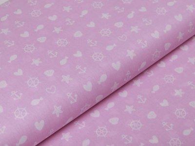 Webware Baumwolle Popeline - Seesterne und Muscheln - rosa