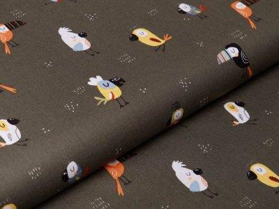 Webware Baumwolle Popeline Digitaldruck by Poppy - witzige Tukane - olive