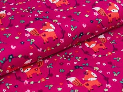 Webware Popeline - kleine Füchse im Blumenmedaillon - fuchsia