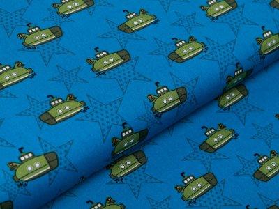 Webware Baumwolle Popeline - U-Boote und Sterne - blau
