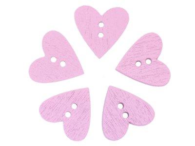 5 Holzknöpfe Herzform 20mm - rosa