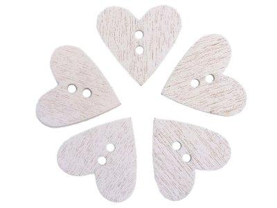 5 Holzknöpfe Herzform 20mm - weiß