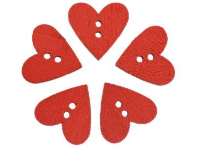 5 Holzknöpfe Herzform 20mm - rot