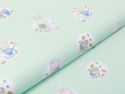 Webware Baumwolle Popeline - niedliche Tierkinder im Blumenkreis - pastellmint