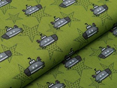 Webware Baumwolle Popeline - U-Boote und Sterne - khaki
