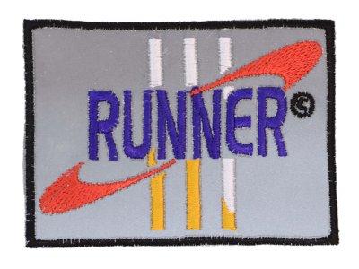 Applikation zum Aufbügeln Reflektor - reflektierendes Sport-Logo – grau
