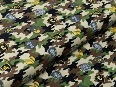 Webware Baumwolle Popeline - Army-Patches und Marken auf Camouflage - beige