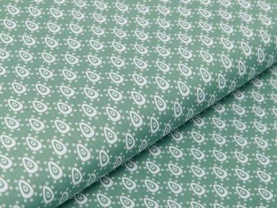 Webware Baumwolle Popeline - Tropfen und Punkte - altgrün