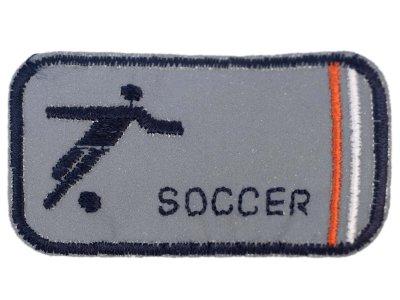 Applikation zum Aufbügeln Reflektor - reflektierender Fußballspieler – grau