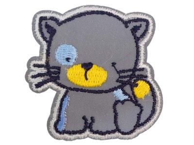 Applikation zum Aufbügeln Reflektor - reflektierendes Katzenbaby – grau