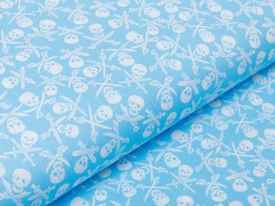 Webware Baumwolle Popeline - Totenköpfe und Säbel - babyblau