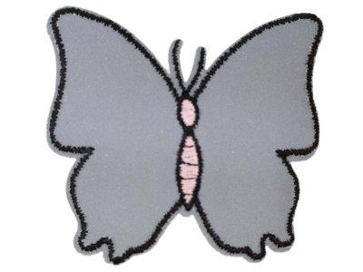 Applikation zum Aufbügeln Reflektor - reflektierender Schmetterling – grau