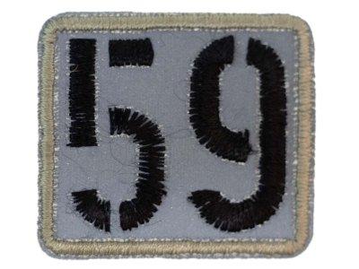 Applikation zum Aufbügeln Reflektor - reflektierende Nummer 59 – grau/pastellmint
