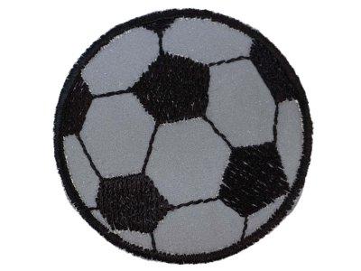 Applikation zum Aufbügeln Reflektor - reflektierender Fußball – grau