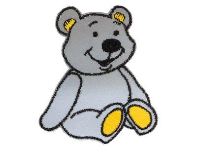 Applikation zum Aufbügeln Reflektor - reflektierender Teddybär – grau