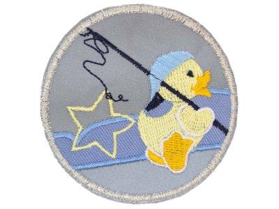 Applikation zum Aufbügeln Reflektor - reflektierende Ente mit Angel – grau