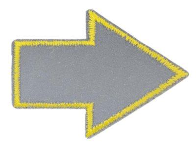 Applikation zum Aufbügeln Reflektor - reflektierender gelber Pfeil – grau