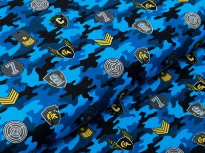 Webware Baumwolle Popeline - Army-Patches und Marken auf Camouflage - blau