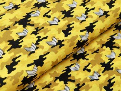 Webware Baumwolle Popeline - Army-Patches auf Camouflage - gelb