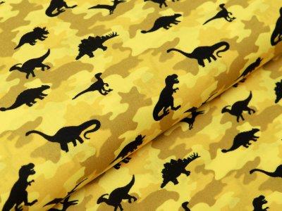 Webware Baumwolle Popeline - Dinos auf Camouflage - gelb