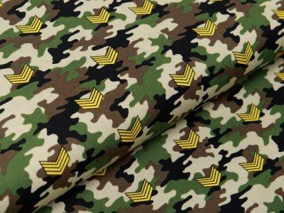 Webware Baumwolle Popeline - Army-Patches auf Camouflage - beige