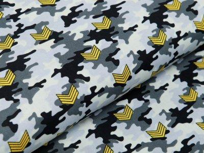 Webware Baumwolle Popeline - Army-Patches auf Camouflage - grau