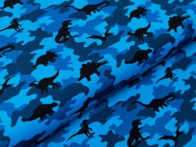 Webware Baumwolle Popeline - Dinos auf Camouflage - blau