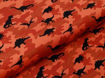 Webware Baumwolle Popeline - Dinos auf Camouflage - rost