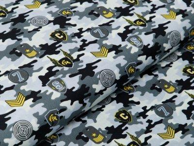 Webware Baumwolle Popeline - Army-Patches und Marken auf Camouflage - grau