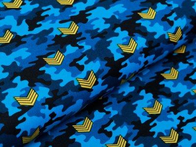 Webware Baumwolle Popeline - Army-Patches auf Camouflage - blau