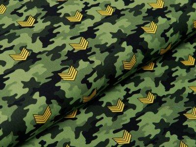 Webware Baumwolle Popeline - Army-Patches auf Camouflage - grün