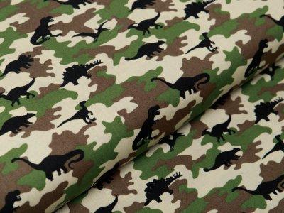 Webware Baumwolle Popeline - Dinos auf Camouflage - grün