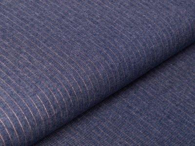 Leichter Jeansstoff mit Glitzerstreifen - Streifen - jeansblau/kupfer
