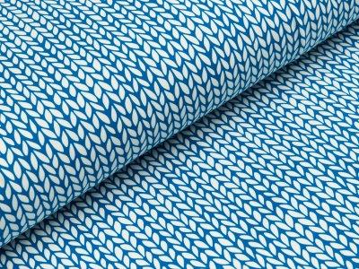 Jersey Digitaldruck - Zopfmuster - blau/weiß