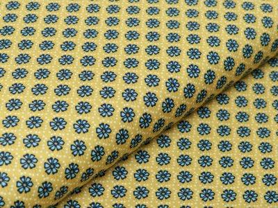 Webware Baumwolle Popeline - Retro-Blumen - ocker