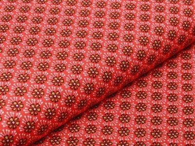 Webware Baumwolle Popeline - Retro-Blumen - terrakotta