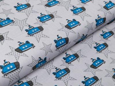 Webware Baumwolle Popeline - U-Boote und Sterne - grau