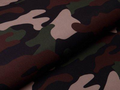 Softshell Jackenstoff Digitaldruck - Camouflage - braun