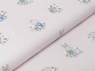 Webware Baumwolle Popeline - niedliche Tierkinder im Blumenkreis - pastellrosa