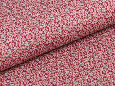 Jersey - kleines Blumenmeer - weiß/rot