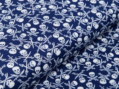 Webware Baumwolle Popeline - Totenköpfe und Säbel - marine