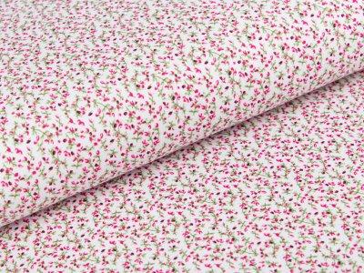 Jersey - kleine Blumenzweige - weiß/fuchsia