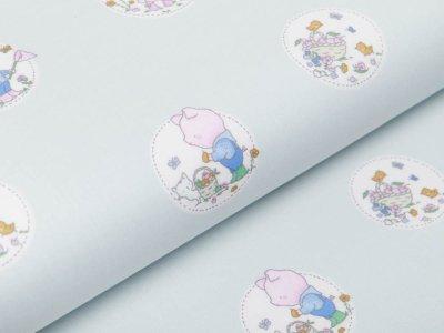 Webware Baumwolle Popeline - niedliche Tierkinder im Blumenkreis - pastellgrau