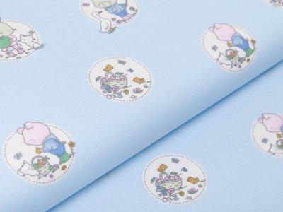 Webware Baumwolle Popeline - niedliche Tierkinder im Blumenkreis - blau